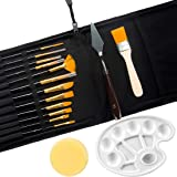 GIEMSON 16 Pcs Paint Brushes Set 12 Sizes Oil Acrylic Painting Brusher with Palette Knife, Sponge and Oil Tray for…