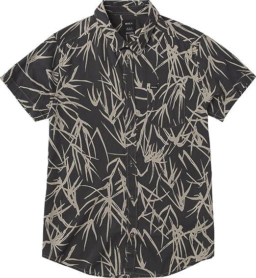 RVCA Camisa de bambú estampada con botones para hombre - Negro - Small: Amazon.es: Ropa y accesorios