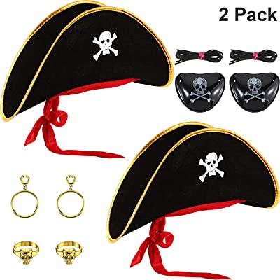 6 Pieces Pirate Hat Costume Skull Print Pirate Captain Cap with Eye Patch and Plastic Pirate Earring for Halloween Masquerade Party Cosplay Hat Prop: Toys & Games