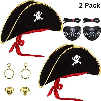 Adult Velvet Pirate Bandana Skull Hat with Gold Trim Captain Fancy Dress