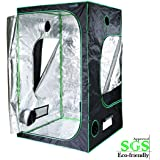 "Quictent SGS Approved Eco-friendly 48""x48""x78"" Reflective Mylar Hydroponic Grow Tent with Obeservation Window and waterproof Floor Tray for Indoor Plant Growing 4'x4'"
