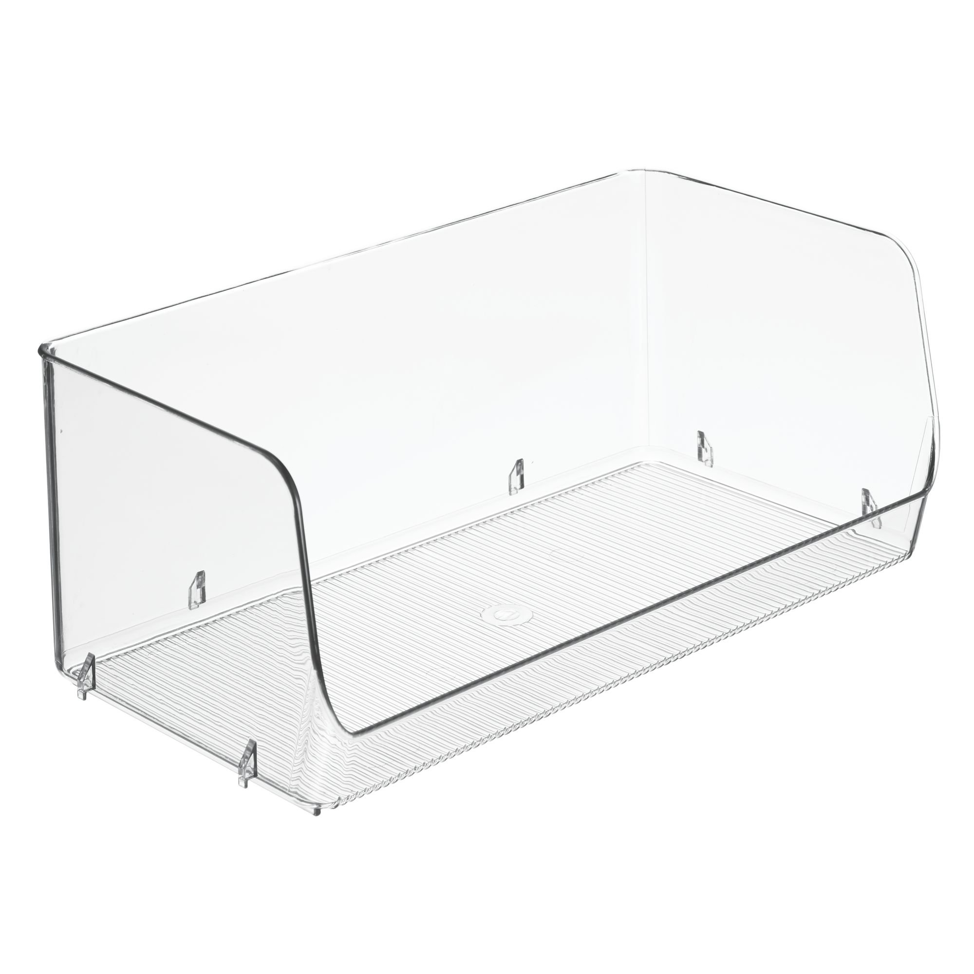 mDesign Household Stackable Plastic Storage Organizer Bin Basket with Open Front for Kitchen Cabinets, Pantry, Offices, Closets, Bedrooms, Bathrooms - 12'' Wide, Pack of 6, Clear by mDesign (Image #8)