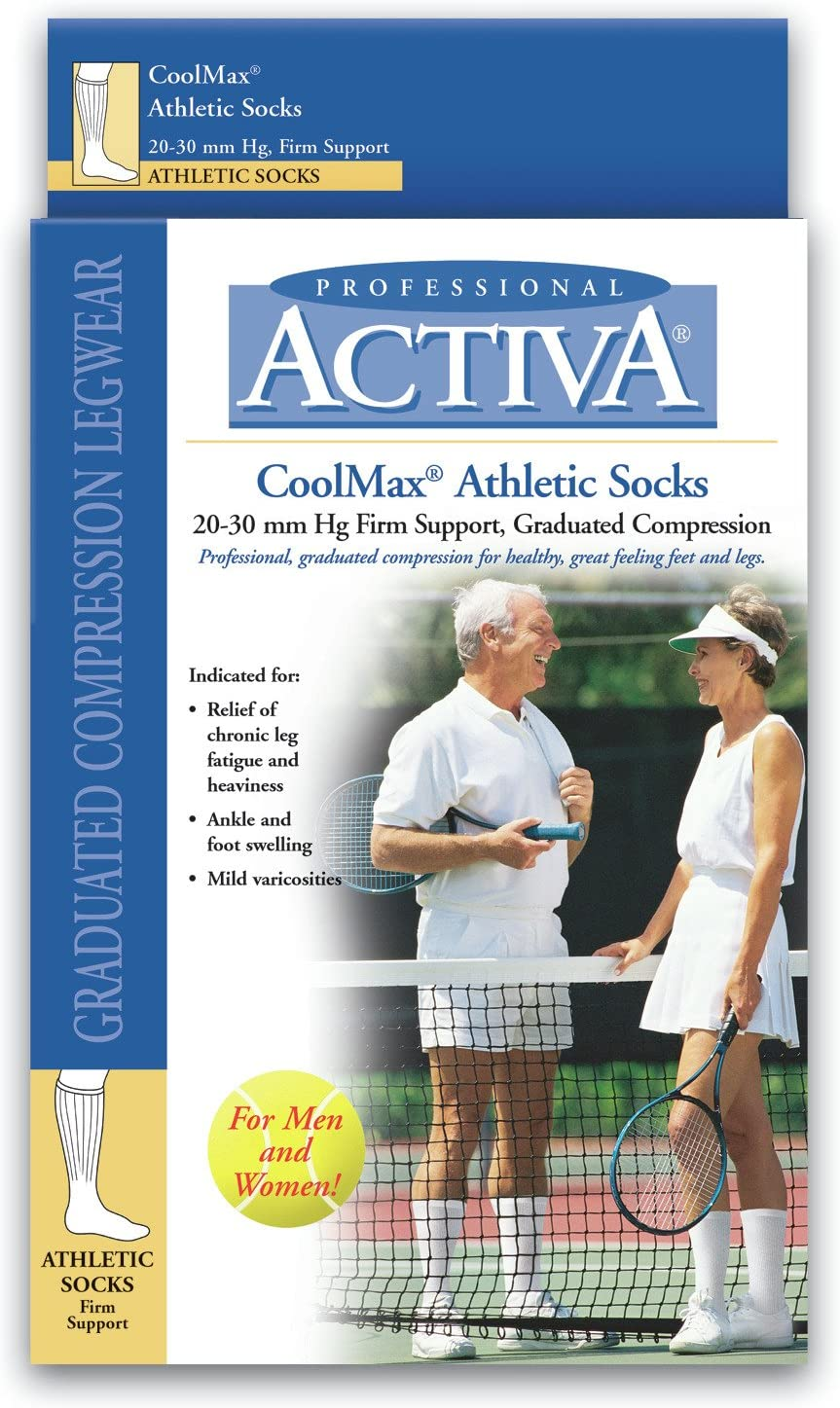 B0000ZSJAI Activa Athletic Over The Calf Socks, White, X-Large 712BSPueVfjL