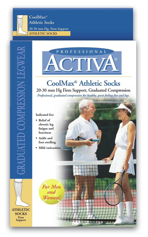 Activa Athletic Crew Socks, White, Small