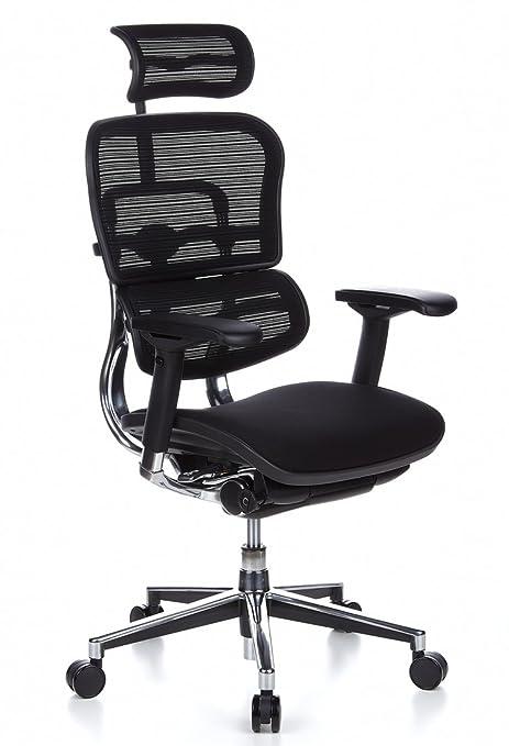 hjh OFFICE 652630 Ergohuman - Silla de oficina, asiento tejido y respaldo en malla negra