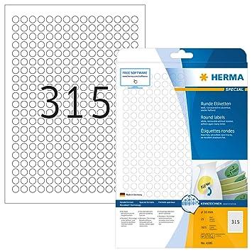 Herma 4385 Universal Etiketten rund, ablösbar (ؘ˜ 10 mm) weiß ...