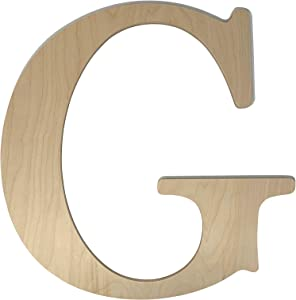 """Unfinished Wooden Letter for Wedding Guest Book Alternative or Wall Decor (24"""") (Letter G)"""