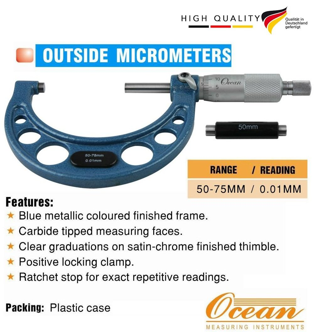 Professional  Outside Micrometer 50-75MM 0.01MM