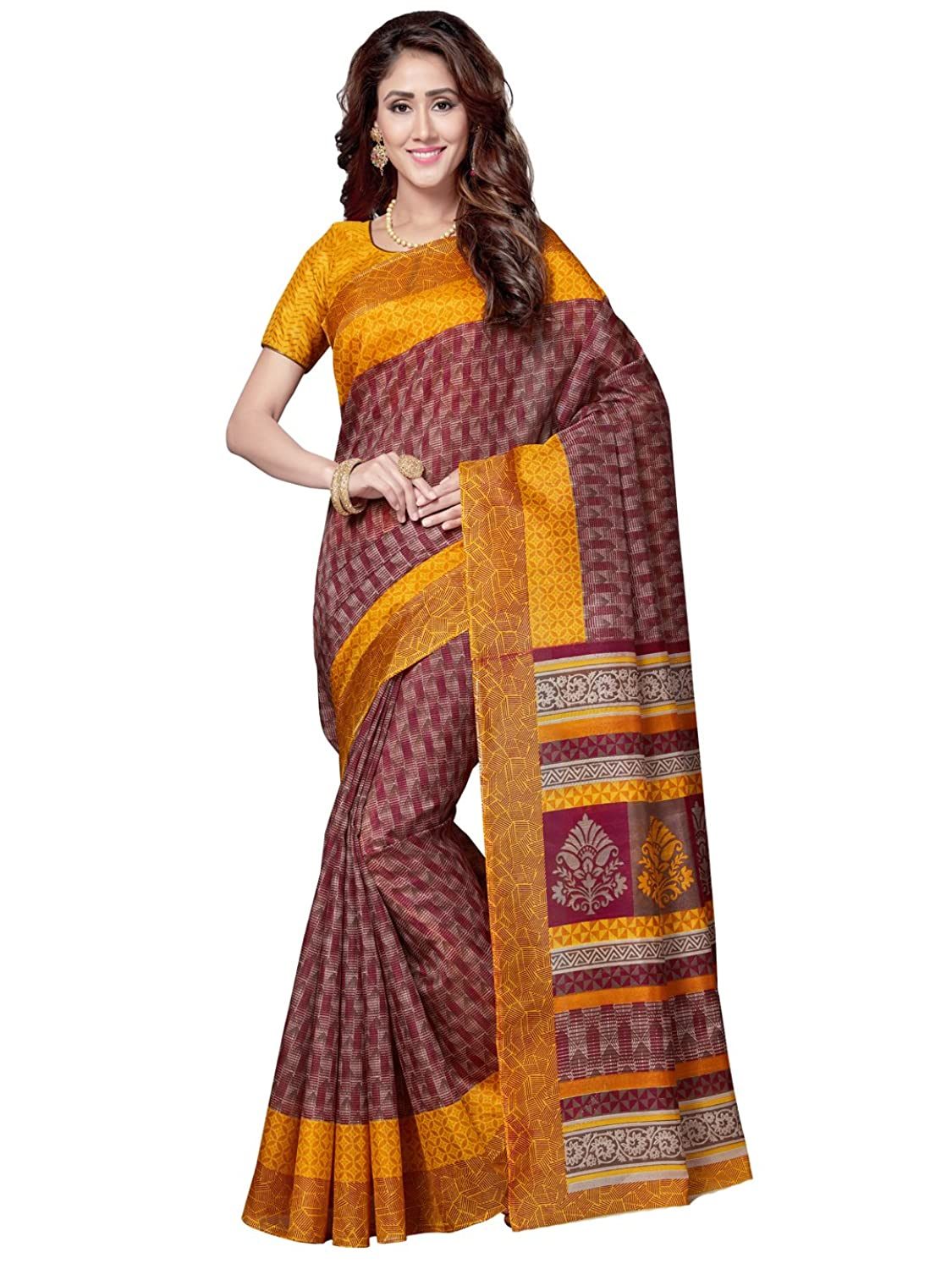 85dee679b3064 Saree Swarg Maroon and Yellow Art Silk Printed Saree with Blouse 4214-A   Amazon.in  Clothing   Accessories