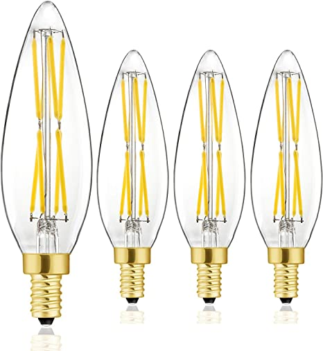 8w Led Candelabra Bulb 100w Equivalent Dimmable Chandelier Edison Light Bulbs 4000k Daylight White E12 Vintage Led Filament Vintage Candle Bulb With Decorative No Flicker Instant On 4 Pack Amazon Com
