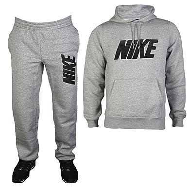 ebf3a3d98e25 Nike Mens Grey Jersey Lounge Sports Hoody Top Bottoms Tracksuit Set Size L