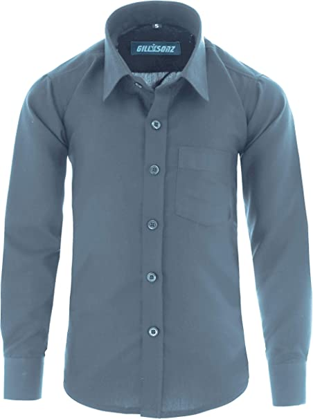 GILLSONZ - Camisa - Clásico - para niño gris 10/11 años: Amazon.es: Ropa y accesorios