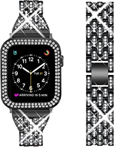 DSYTOM Compatible Apple Watch Band 42mm 38mm 40mm 44mm with Case Women,Rhinestone Metal Jewelry Wristband Strap with Bling PC Protective Case Replacement for iWatch Series 5 4 3 2 1(Black)