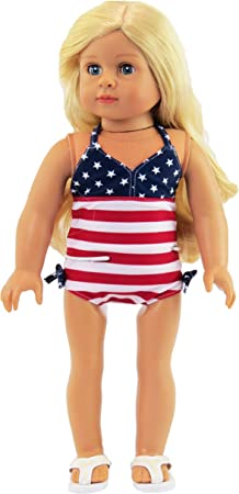 """Doll Clothes 18/"""" Bathing Suit Orange White Polka Dot Fits American Girl Dolls"""