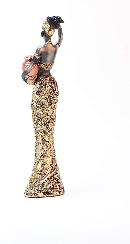 GEMME Statuette Femme Africaine avec Pot Hauteur 25 cm
