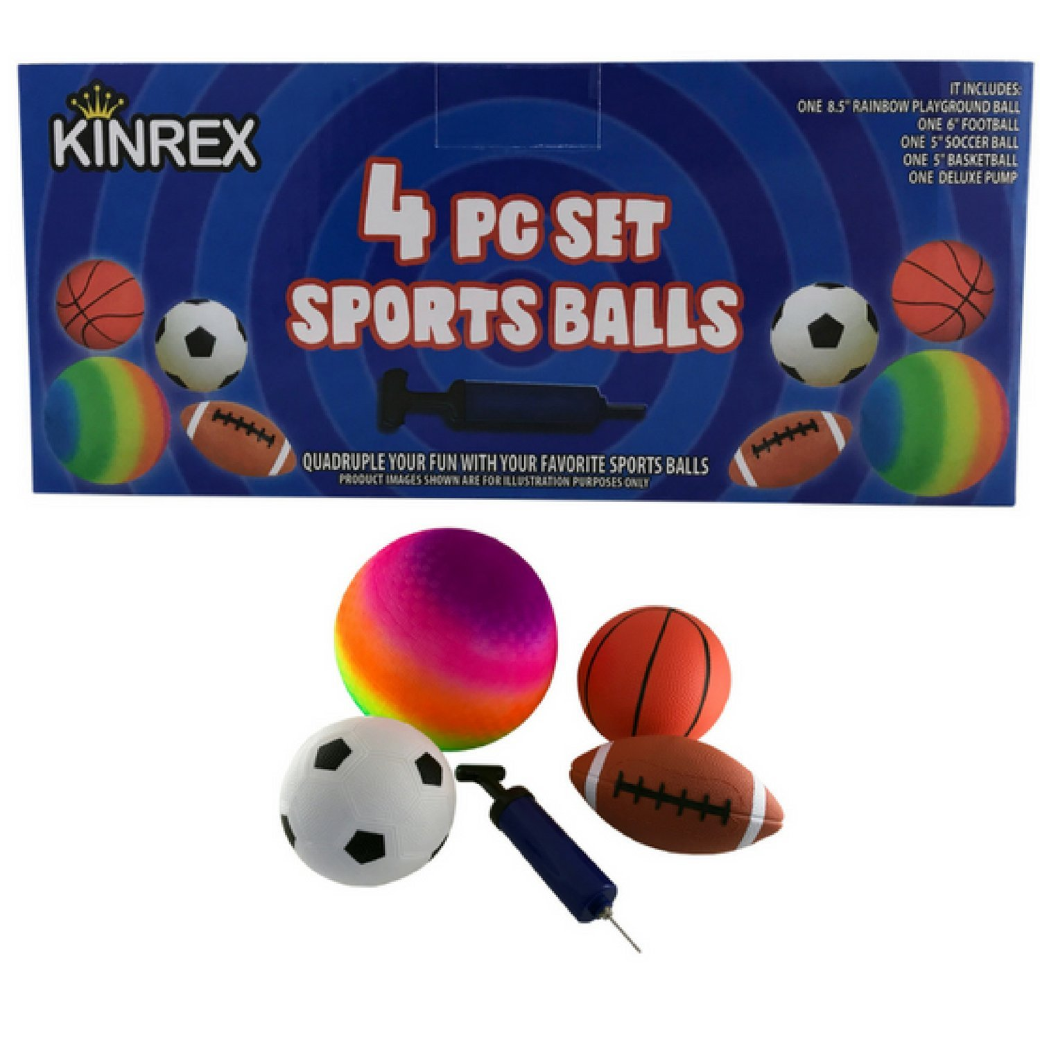 KINREX 4 Sports Ball Set with a Deluxe Pump - 8.5'' Rainbow Playground Ball - 6'' Football - 5'' Soccerball and 5'' Basketball - Sports Balls for Kids