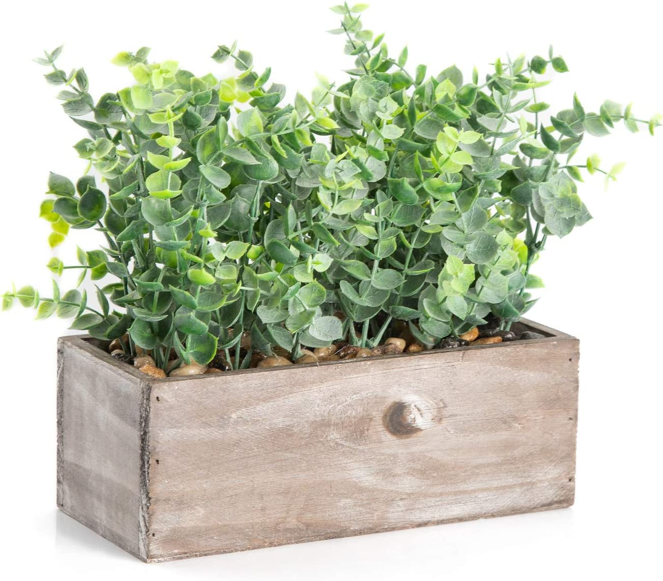 Velener Mini Potted Artificial Eucalyptus Plant for Home Decor (Wooden Tray)