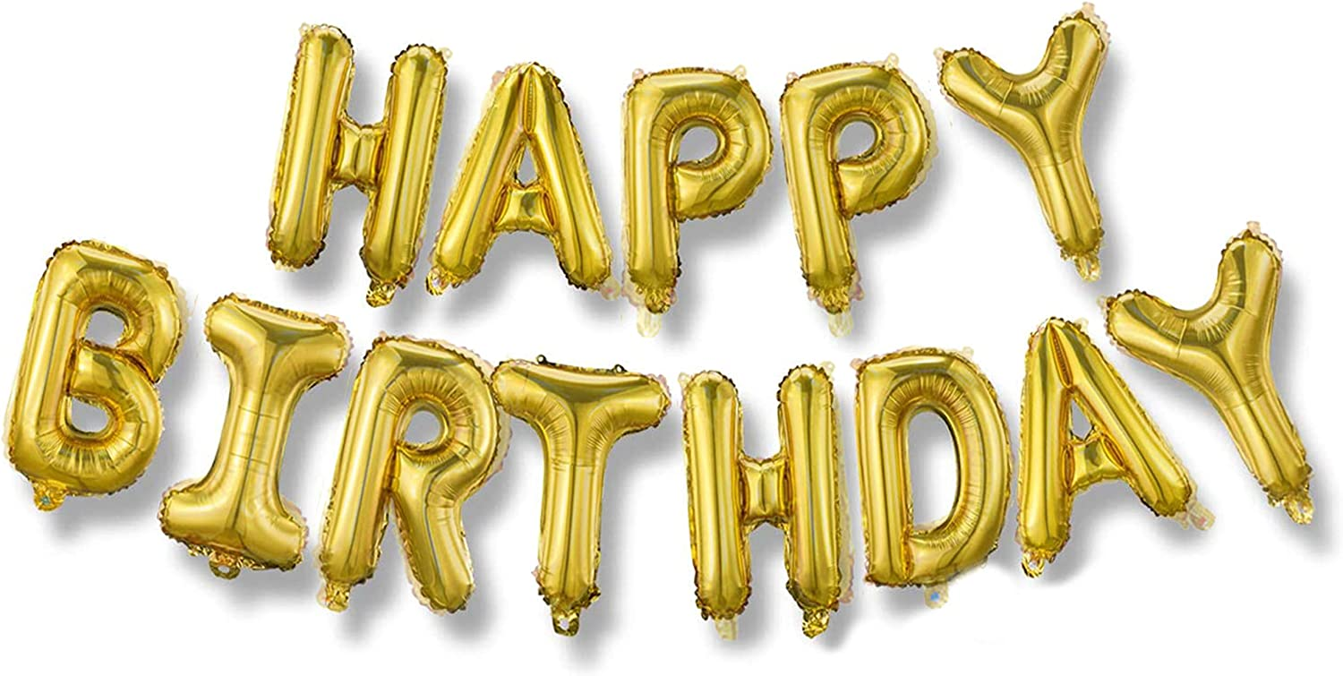 Happy Birthday Balloons Banner (3D Gold Lettering) Mylar Foil Letters | Inflatable Party Decor Event Decorations for Kids and Adults | Reusable, Eco-Friendly Fun 16 inch with Ribbon and Straw(Gold)