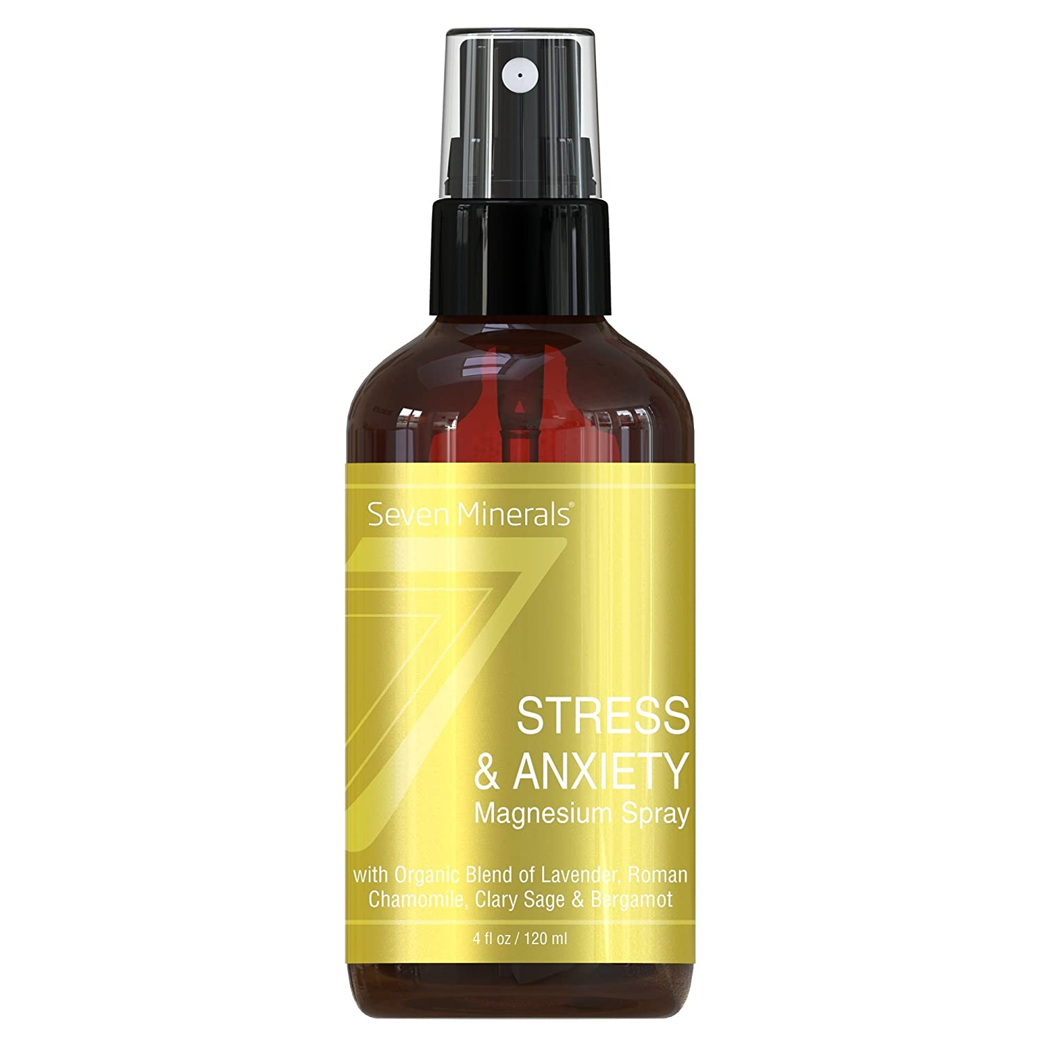 Seven Minerals Stress & Anxiety Magnesium Spray with Organic Blend of Lavender, Roman Chamomile, Clary Sage & Bergamot - 4 fl oz SM-786