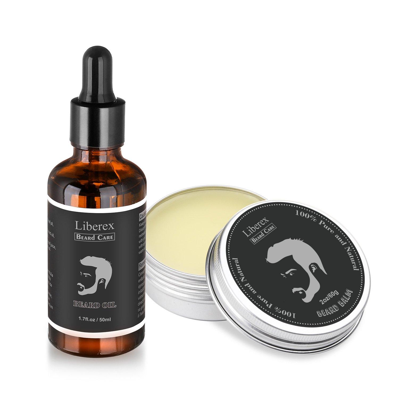 Kit de Aceite y Bálsamo para Barba & Bigote - Liberex Acondicionador para Barba Cuidado Set, Natural,Sin Perfurme, Ingrediente Orgánico, Regalo ideal para hombres