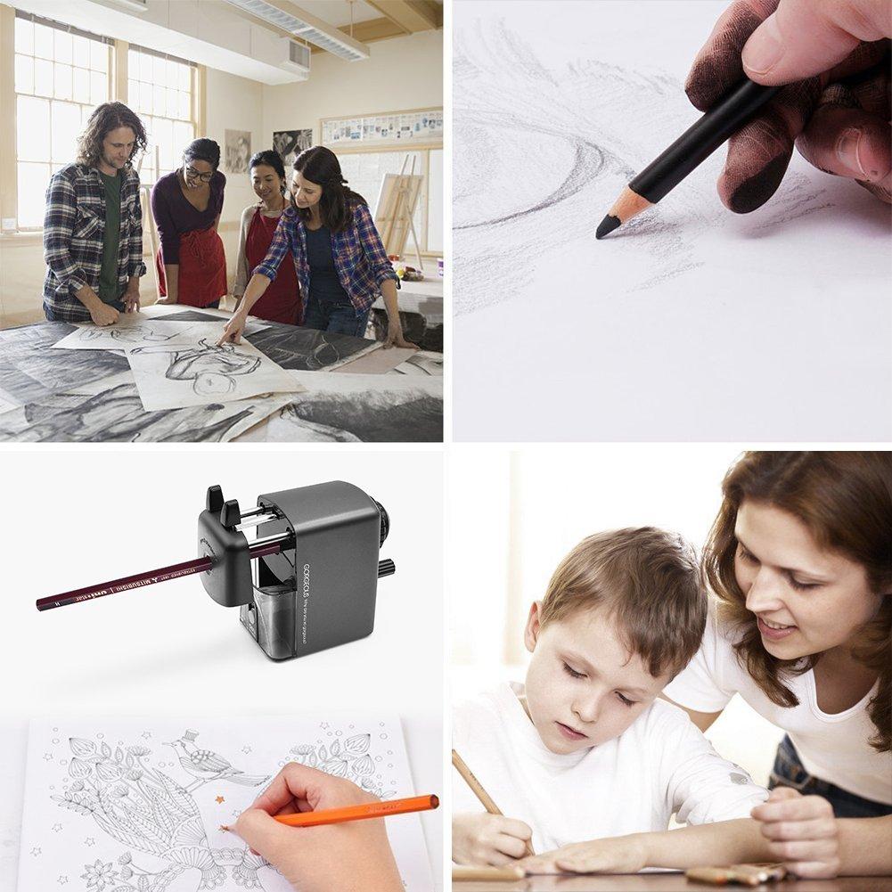 Home Manual Pencil Sharpener Office Eesteros 2 in 1 Hand Crank Pencil Sharpener Heavy Duty for School Classroom Gray