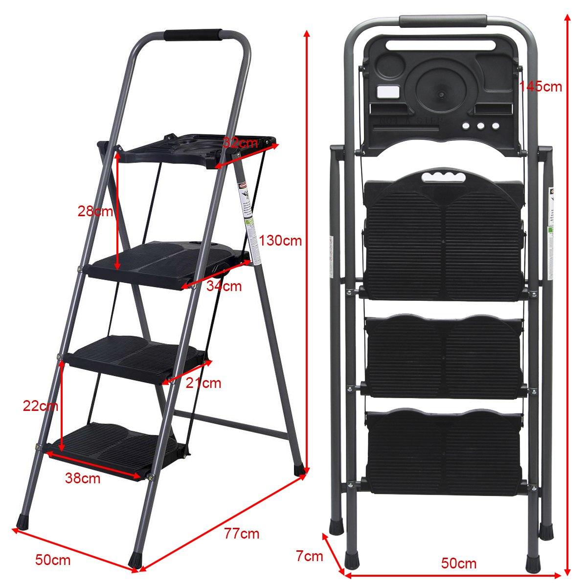 Stahl Haushaltsleiter 3 Stufen Leiter Auswahl Klapptritt Stehleiter Trittleiter Klapptleiter Klappbar Wei/ß