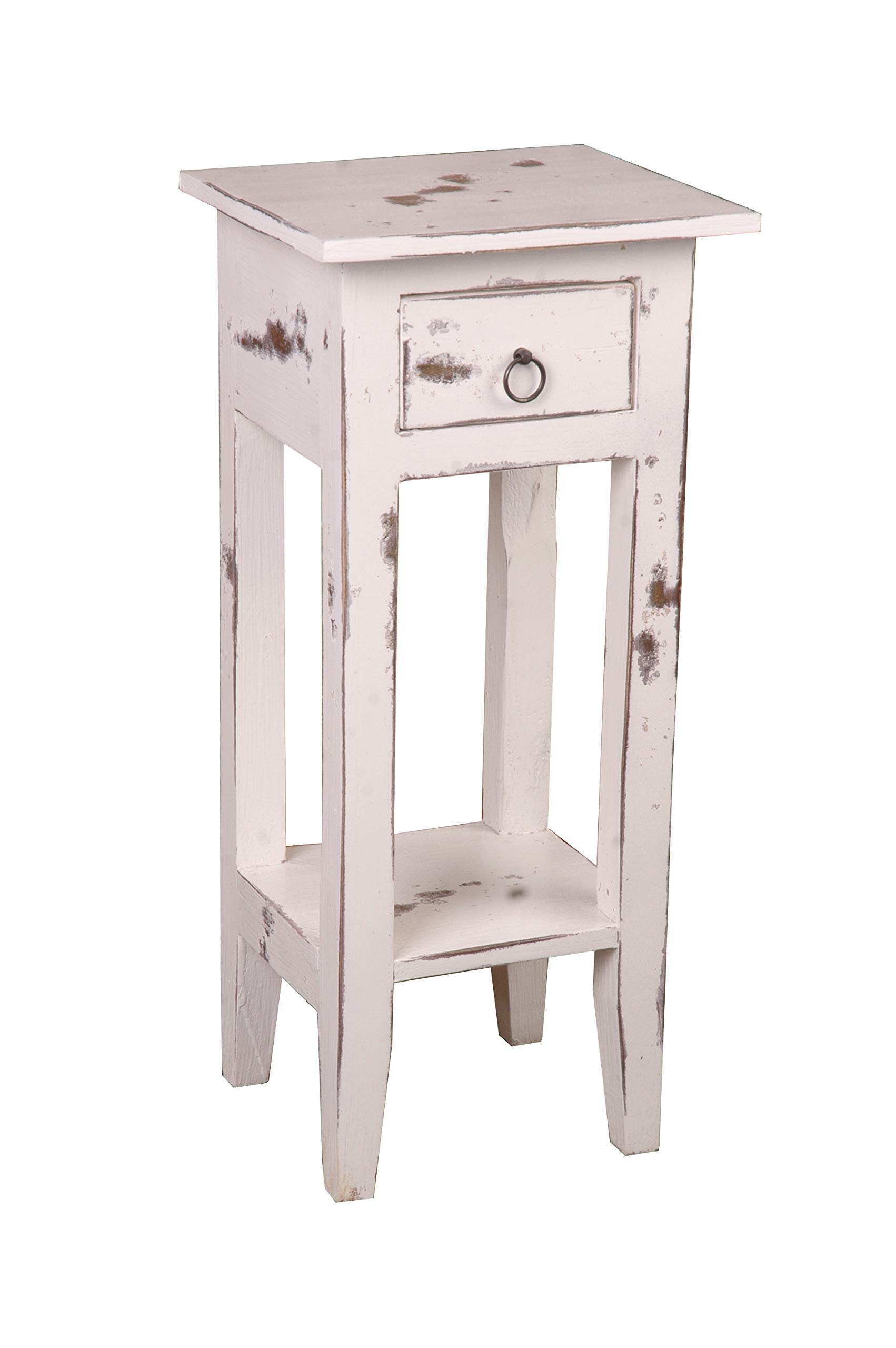 Sunset Trading Shabby Chic Cottage Table, Small One Drawer, Heavy distressed whitewash by Sunset Trading