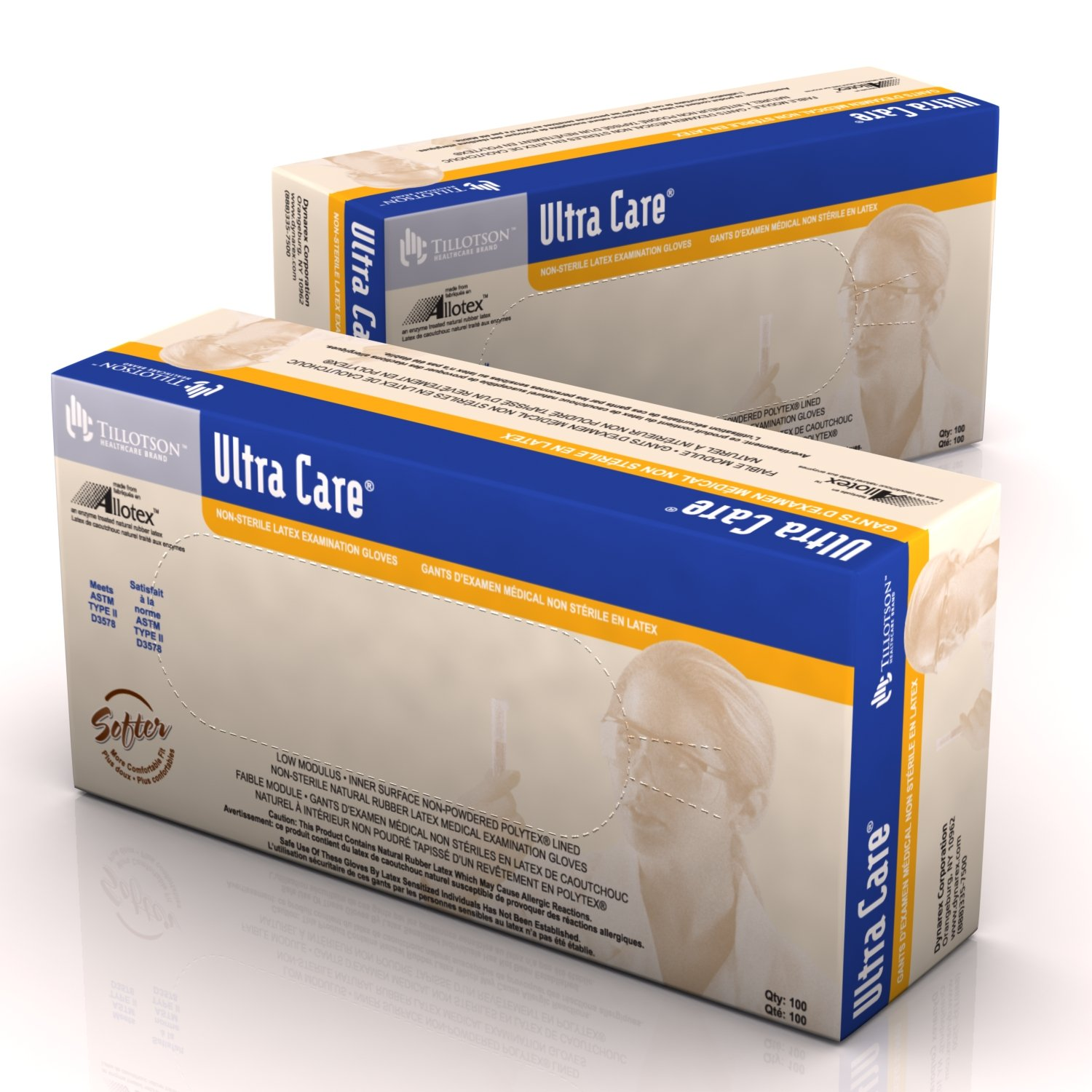 Dynarex Ultra Care Latex Exam Gloves Non-Sterile Unisize 10/100/Cs by Dynarex (Image #1)