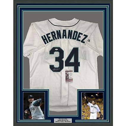 uk availability 91cec 7d36d Framed Autographed/Signed Felix Hernandez 33x42 Seattle ...