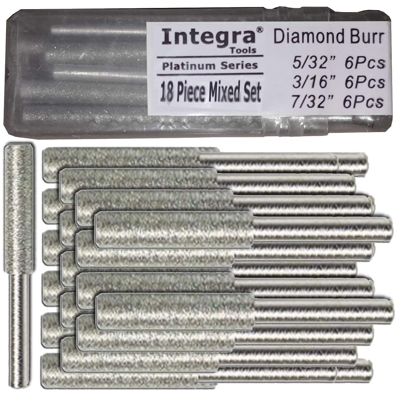 Integra Tools 5/32'' 3/16'' 7/32'' 18 Piece Mix Diamond Chainsaw Sharpener Burr 1/8'' Shank by Interga