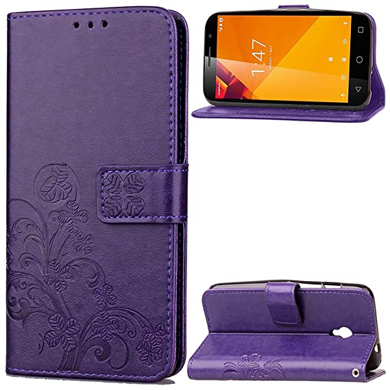 Vodafone Smart Turbo 7 Case, SATURCASE Lucky Clover PU Leather Flip Magnet Wallet Stand Card
