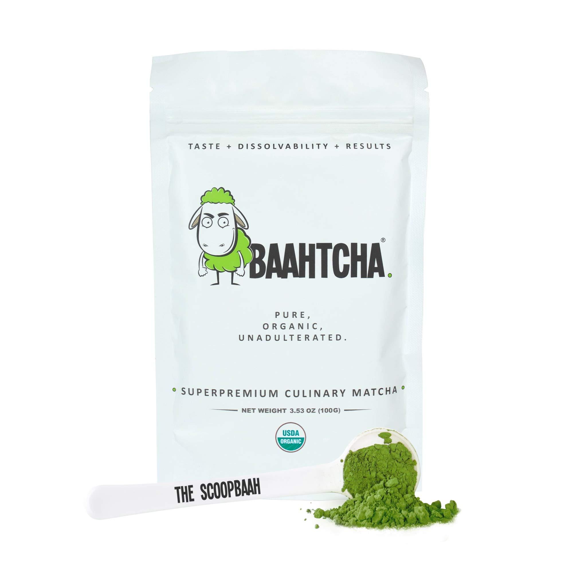 Baahtcha - USDA Organic Matcha Green Tea Powder - Premium Culinary Grade Natural Caffeine Energy Booster, Antioxidant, Weight Loss, Fat Burner - Gluten Free, Vegan - 100g