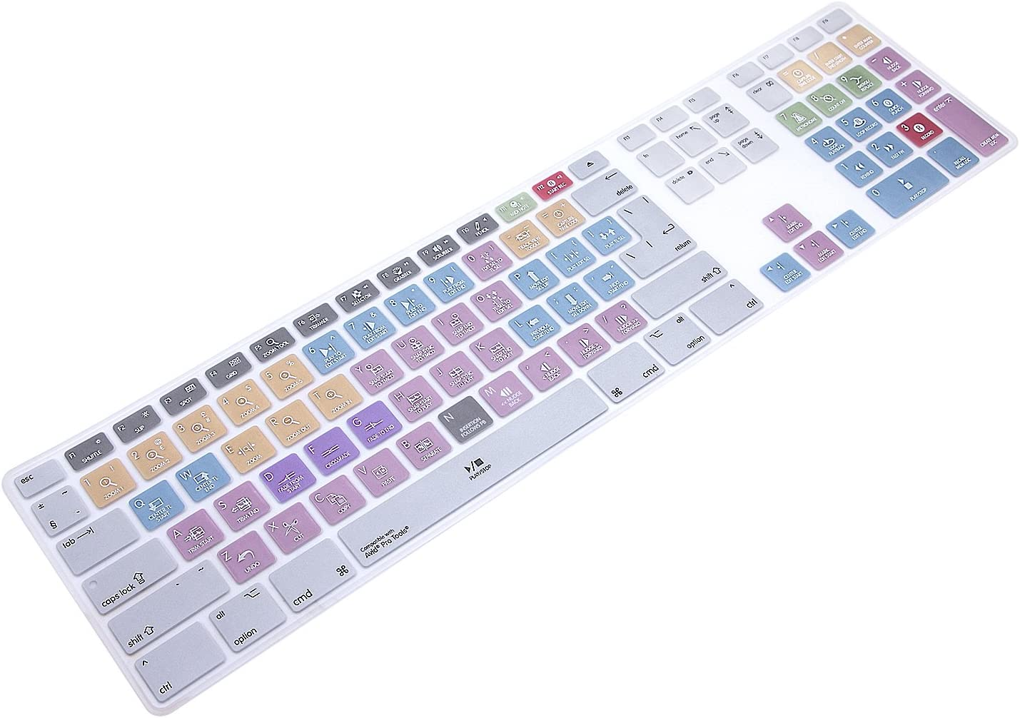 WYGCH Ultra Thin Shortcuts Extended Silicone Keyboard Protective Cover Skin for Apple Mac Aluminum Wired Keyboard MB110LL/B (A1243) Numeric Keypad (for Avid Pro Tools)