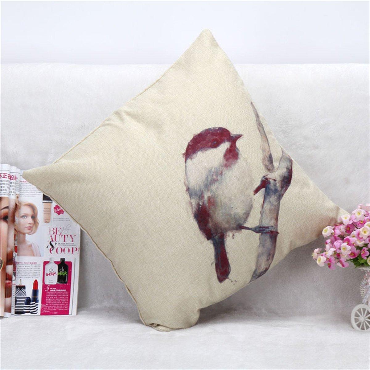 SHINA Vintage Cotone Lino federa Divano Vita tiro Cuscino decorazioni per la casa (Uccello Carino)