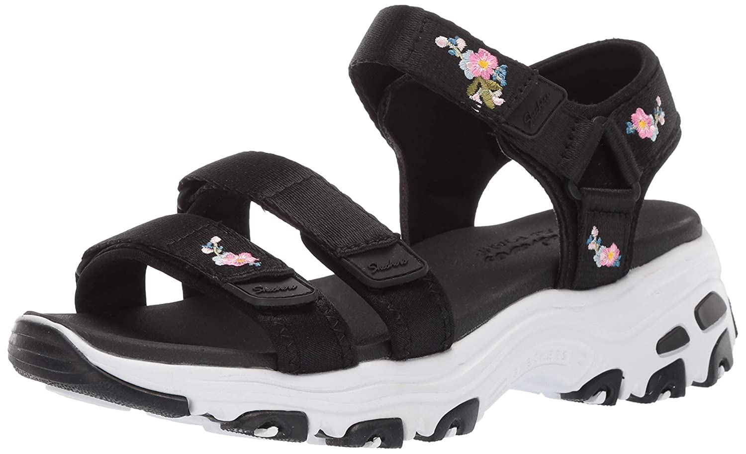 Skechers Womens DLites-Awesome Blossom-Floral Embroidered Quarter Strap Sandal Sport, Black/Multi 6 M US