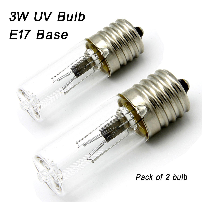 Replacement for 3 Watt UV Germicidal Light Bulb 3Watts Lamp 3W E17 Intermediate For GermGuardian Air Sanitizer GG1000 GG1100B GG1100W ( 2 Pack)