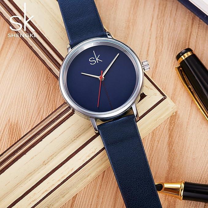 Amazon.com: Shengke Fashion Black Women Watches 2017 Ultra Thin Quartz Watch Woman Elegant Dress Ladies Watch Montre Femme SK (Silver case&Blue Strap): ...