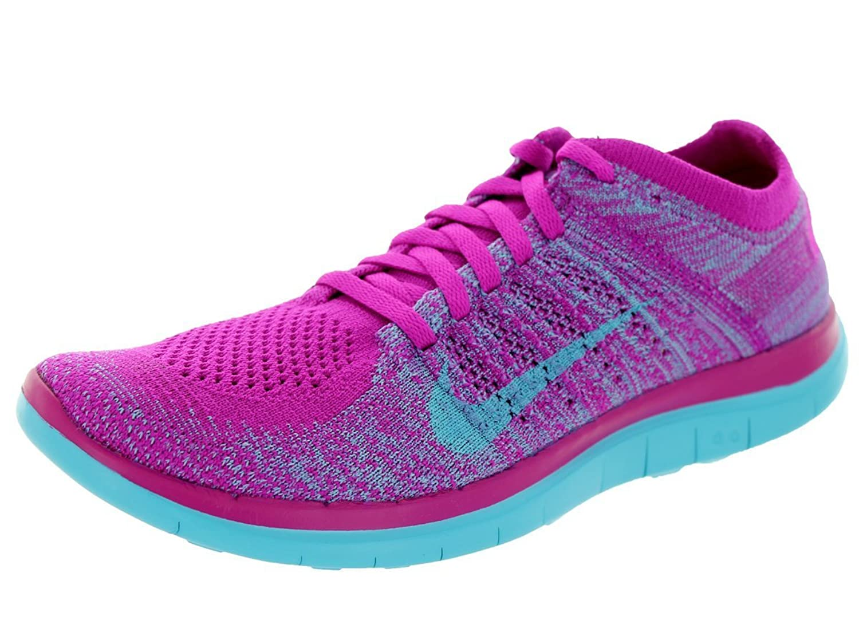 new concept b05f5 c7f0c Nike Women s Free 4.0 Flyknit Running Sneaker, Fuchsia Violet Blue 50%OFF