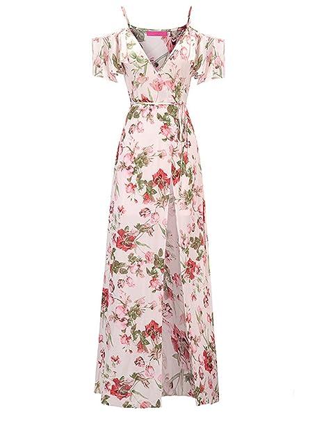 914999442e11 Amazon.com: SHIBEVER Women's Summer Floral Maxi Dress Boho High Slit Cold  Shoulder Wrap Long Dresses Pink 2XL: Clothing