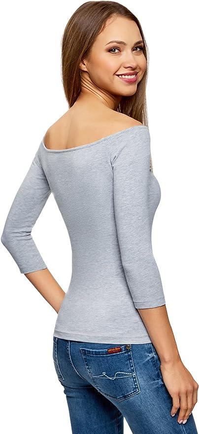 oodji Ultra Mujer Camiseta con Hombros Abiertos sin Etiqueta Pack de 3
