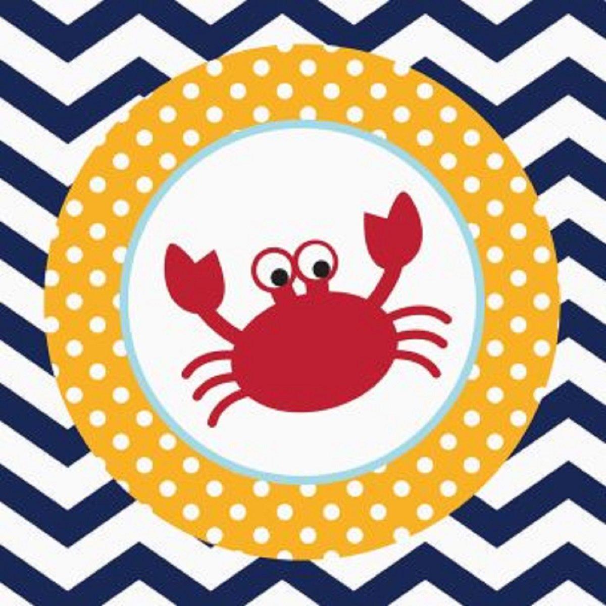 クラブパックof 216 Ahoy Matey 。Crab 2-ply使い捨てParty Beverage Napkins 5