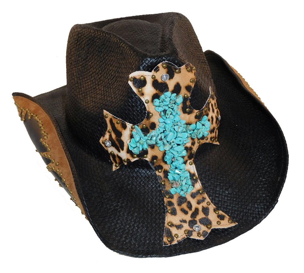 Peter Grimm Cross Studded Zeke Drifter (One Size, Black Turquoise)