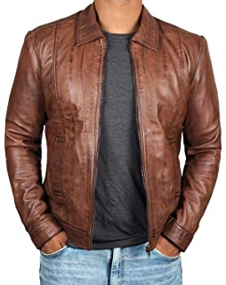 42914ac88 Brown Leather Jacket Mens - Cafe Racer Real Lambskin Leather ...