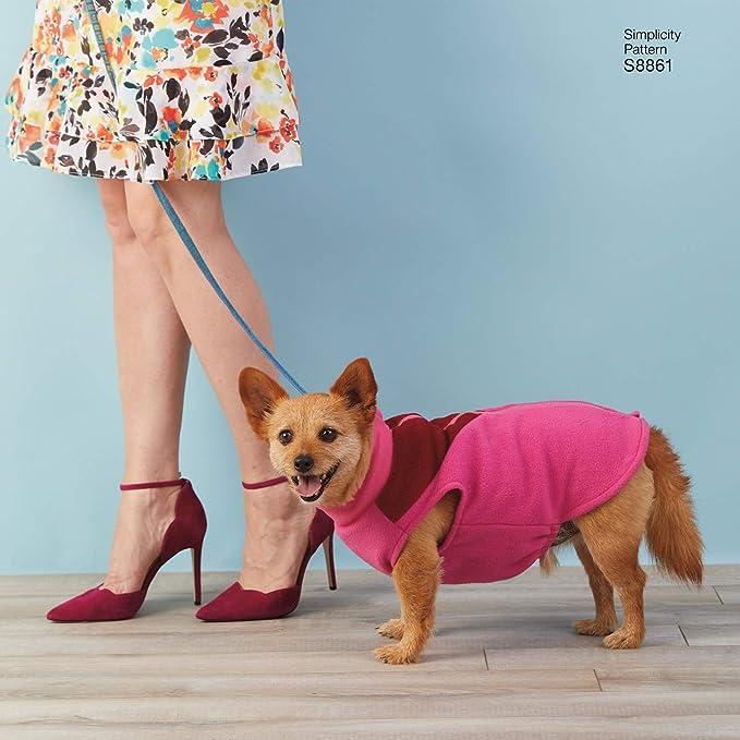 Papier Taille A Blanc Un S-M Simplicity sewing pattern 1239 chien manteaux en trois
