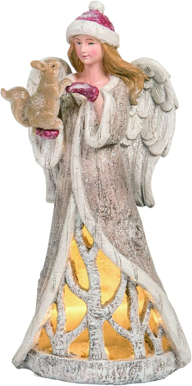 Elegant Light Up Woodland Christmas Angel Figurine Holding Squirrel Forest Animal – Tabletop Religious Holiday Decoration – Spiritual Winter Home Decor for Mantle, Accent Table, or Office Desk