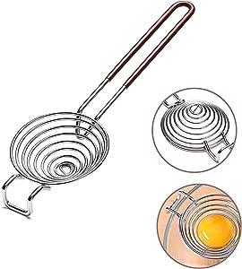 Egg Separator, Egg Yolk White Separator Tool, Food Grade Stainless Steel Filter, Kitchen Utility Gadget Cooking Baking Tool, Dishwasher Safe-Work for XL Jumbo Eggs, Red