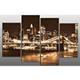 """Large Brown Sepia New York Skyline Canvas Picture 4 pieces multi panel split canvas completely ready to hang , hanging template included for easy hanging, UK company 40"""" width 27"""" height"""