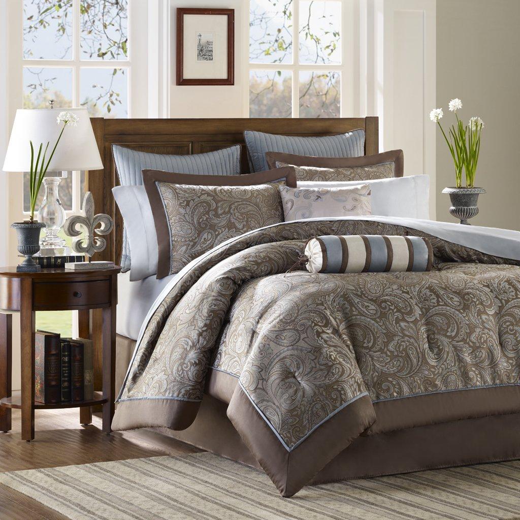 Madison Park - Aubrey 12 Piece Complete Bed Set - Blue - Queen - Jacquard - Includes 1 Comforter, 1 Bed Skirt, 1 Flat Sheet, 2 Standard Shams, 2 Euro Shams, 2 Pillowcases, 2 Dec Pillows,1 Fitted Sheet by Madison Park