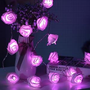 JMEXSUSS 16.4ft 30 LED Pink Rose Flower String Lights Battery Operated Rose String Lights with Remote Timer 8 Modes LED Rose Lights