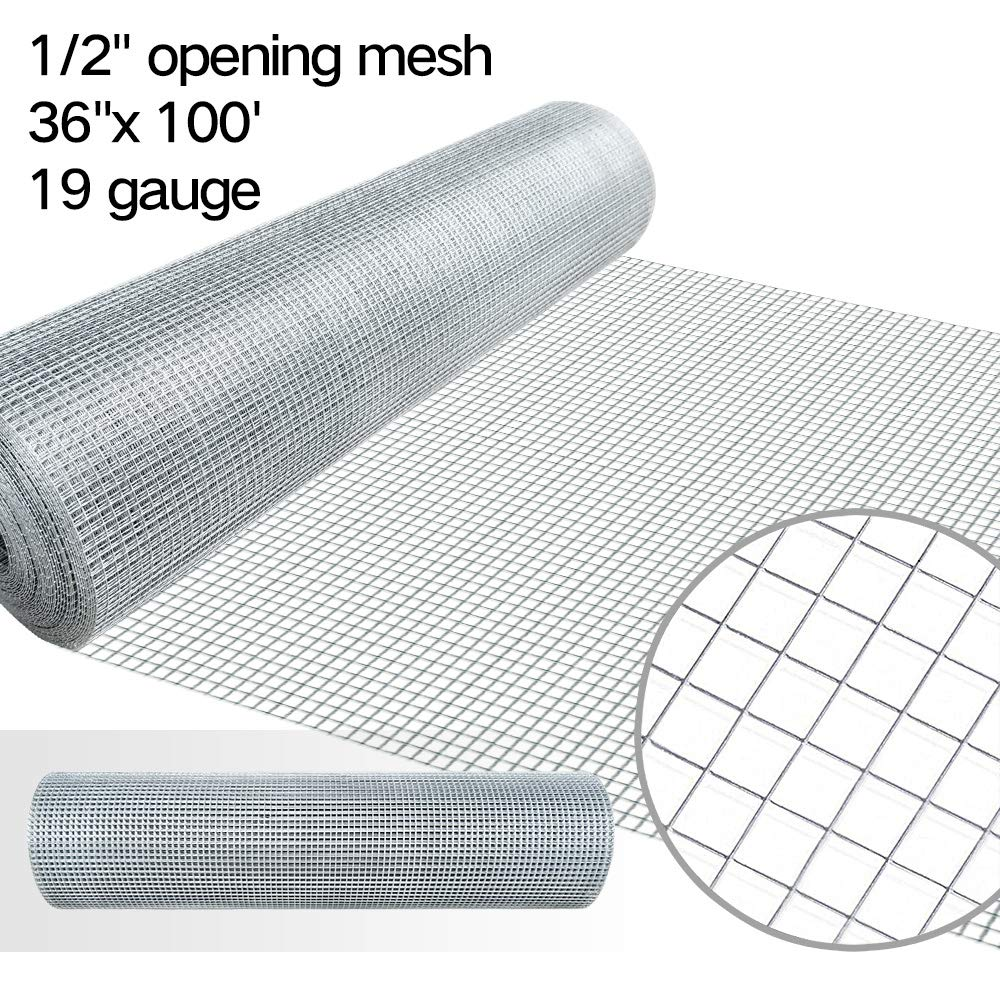 1/2 Hardware Cloth 36 x 100 19 gauge Galvanized Welded Wire Metal Mesh Roll Vegetables Garden Rabbit Fencing Snake Fence for Chicken Run Critters Gopher Racoons Opossum Rehab Cage Wire Window by AMAGABELI GARDEN & HOME